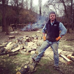 "Proud of a few felled trees and a bonfire underway. #hungrycyclistlodge • <a style=""font-size:0.8em;"" href=""http://www.flickr.com/photos/30386142@N06/8561761107/"" target=""_blank"">View on Flickr</a>"