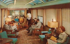 Sun Lounge, Seaboard Railroad Silver Meteor (1950sUnlimited) Tags: travel fun bars sightseeing restaurants 1950s leisure vacations inns railroads midcentury railroadcars lobbies lounges postcardes