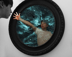 Reaching Out for Help- Tweedy Photography (Joshua Tweedy) Tags: blackandwhite white black green me shirt clouds photoshop canon wonderful square stars lost photography mirror amazing cool photoshoot stuck emotion image space stare inside reach moment turqoise t3i excellence photoshopart teel 600d photoaffect