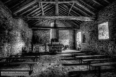 Courbefy Chapel (Fred-Adams) Tags: winter france cold reflection abandoned wall rural french worship europe empty religion rustic chapel altar benches derelict beams hdr hamlet limousin holidaycamp hameau courbefy