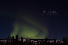 Hillside on Fire (Krista Funk's Photos) Tags: sky night stars northernlights auroraborealis northklondikehighway