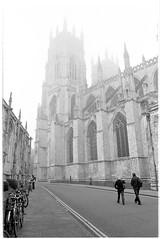 walking westward (jj birder) Tags: york blackandwhite bw film fog 35mm yorkshire contax minster aria