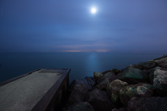 In the Middle of The Night (ndutzie) Tags: longexposure moon lake water rocks nightshot shore lakeontario nikond600