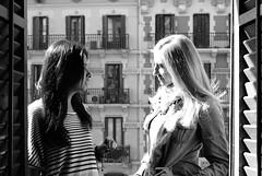 Last day in Barcelona (Ely Metztli) Tags: barcelona morning girls portrait blackandwhite espaa blancoynegro photography morninglight spain retrato plazacatalua