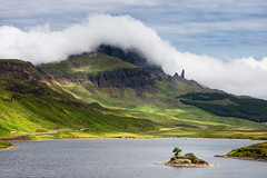 The Old Man Of Storr (Philipp Klinger Photography) Tags: road old uk greatbritain blue light shadow sea sky cloud lake man tree skye green nature water grass clouds landscape island scotland highlands nikon europa europe isleofskye cloudy unitedkingdom britain