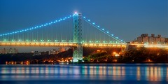 THE GEORGE WASHINGTON BRIDGE on August                30,2012 (mudpig) Tags: nyc newyorkcity longexposure bridge newyork geotagged newjersey manhattan nj gothamist bluehour georgewashington hdr gwb fortlee georgewashingtonbridge washingtonheights lighttrail mudpig stevekelley stevenkelley