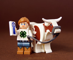 4H (customBRICKS) Tags: cow lego ribbon cowgirl custom 4h livestock minifigure