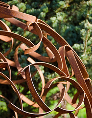 Metal Orb (LabradorEars) Tags: metal rust recycled orb welded salvaged gardenart