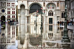 Piazzetta di San Marco Reflections (Marko Stavric) Tags: travel venice light italy reflection church water lamp square puddle flooding italia cathedral flood mark basilica tide lion arches pole marco venetian lamps piazza venezia fresco sanmarco hightide cattedrale stmark saintmark piazetta patriarcale