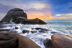 The Rock (Noom HH) Tags: travel sunset sea seascape beach nature rock stone sunrise landscape thailand asia wave thai huahin sai noi  prachuabkirikhan