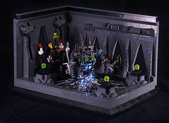 Summoning an Iron Golem - modified lightning (captainsmog) Tags: hall iron lego medieval fantasy knight mad swords vignette mage golem diorama weapons adventurer moc