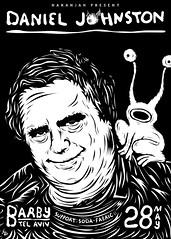 Daniel Johnston [POSTER DESIGN] (Shinlamed) Tags: show portrait white black art poster flying eyes live daniel tel aviv may shell fabric devil soda johnston danieljohnston barby artposter naranjah shelluno shinlamed sodafabric