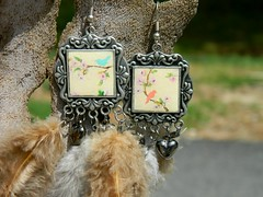 earrings hand painted bird (irybytva) Tags: feather handpainted asymmetrical handmadejewelry