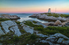 Sandy Cove Lighthouse, Terence Bay (Nancy Rose) Tags: ocean sunset sea summer lighthouse nova rock landscape evening bay long exposure outdoor cove sandy atlantic formation scotia atlanticocean terence terencebay 8362