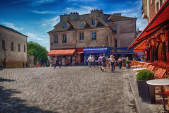 Montmartre in Paris (` Toshio ') Tags: toshio paris france french montmartre europe european europeanunion cobblestone building history restaurant cafe artists fujixe2 xe2 tourists people