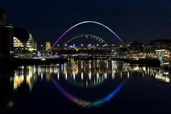 Tyneside (Kye3k1) Tags: night river high rainbow colours piano bridges sage tyne millennium level pitcher