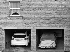 Under Cover #050 (Explore - 22, July 2016 - #059) (Peter.Bartlett) Tags: niksilverefex olympusomdem5 unitedkingdom garage doorway window westyorkshire wall urbanarte holmevalley undercover urban uk monochrome holmfirth m43 microfourthirds tarpaulin kirklees peterbartlett huddersfield blackandwhite car lunaphoto explore