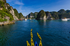 Kayaks in Halong Bay, Vietnam (NettyA) Tags: 2012 asia halongbay vietnam kaarst kayaks landscape limestone water southeast boats