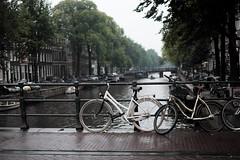 Bike at canal in Amsterdam 4 (Amselchen) Tags: bicycle water canal rain amsterdam street bokeh dof depthoffield fuji fujinon fujifilm fujifilmx fujifilmxseries xt10 xf35mmf14r