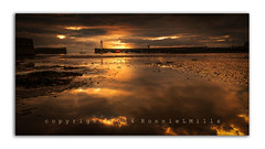 Momentary Light (RonnieLMills) Tags: momentary light sunrise clouds reflections donaghadee harbor harbour lighthouse golden glow hour low tide pools water sand ripples county down northern ireland nikon d90 tamron 1024 wide angle landscape seascape greatphotographers