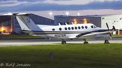 N527ER Beech King air 300 Private Glasgow airport EGPF 04.08-16 (rjonsen) Tags: airplane aircraft plane turboprop nightshoot night shoot beechcraft tripod long exposure