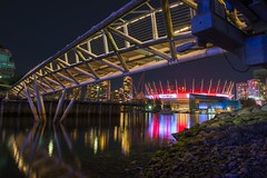 BC Place proudly displays the Canadian colours during the 2016 Rio Olympics. (Spencer Finlay) Tags: canada canadiancolours canadaflag flag reflections bridge olympicvillage bcplace nightphotography vancouver rio olympics