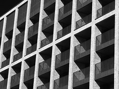 image (Kathi Huidobro) Tags: shadows urban repetitive southlondon croydon london contemporary bw pattern geometric symmetry balconies architecture blackwhite