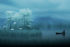 The Seeker ((ID's)) Tags: fineart surreal blue serenity tranquility art dream landscape painting artwork