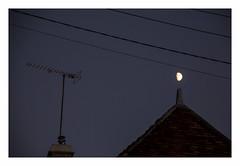 Comptine (hlne chantemerle) Tags: nuit ciel lune toit chemine antenne cable nurseryrhyme night sky moon chimney antenna wire black bluedark