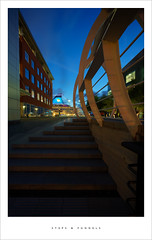 Steps & funnels (Parallax Corporation) Tags: funnels cruiseship steps bridge princesdock dusk blue spotlights smoke perspective wideangle artania