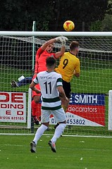 15 Kerr causes keeper to spill the ball (gurnnurn.com pictures) Tags: nairn county fc wee buckie thistle jags highland league august 2016 station park