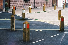 Restricted Parking - Sandwich, Kent (jcbkk1956) Tags: sandwich kent parking posts film analog manual pentax mg agfa200 35mm lines markings