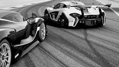 P1 GTR & FXXK   #4   FM6 (Mr. Pebb) Tags: xboxonephotomode xboxone fm6photomode forzamotorsport6photomode forzaseries foza6 forza6photomode forzamotorsport6 fm6 turn10 photomode monza trackdaycars trackdaycar mclaren mclarenp1gtr p1 midengined rearwheeldrive rwd mr v12 british italian v8 ferrari ferrarifxxk fxxk bw blackandwhite close closeup
