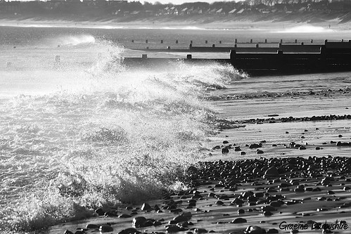 "Stormy sea's ""Explored"" (Graeme Darbyshire ""Away for a few weeks"") sea bw beach monochrome canon seascapes pebbles spray breakingwave breakwater blyth bythesea stormyday 650d blythbeach tamron1024 blythnorthumberland graemedarbyshire gdarbyshire"