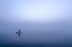 Morning Blues.. (Rajagopalan Sarangapani) Tags: morning travel blue lake colour misty boat fisherman rj chennai 230 raj rajagopalan cwc sarangapani chengalpattu chennaiweekendclickers kolavai rjclicks