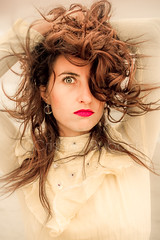 Maria (www.cristianruboni.com) Tags: españa woman girl fashion portraits hair spain eyes chica maria moda style australia melbourne lips retratos impact labios lipstick ritratti spagna watermark ragazza labbra