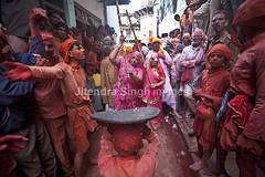 Lathmaar Holi, Barsana, Mathura, India (Jitendra Singh : Indian Travel Photographer) Tags: male expressions strike magnificent covering shielding largegroupofpeople traditionallyindian lathmarholi lathmaarholi
