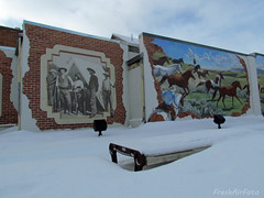 Mural Bench Monday (Explored) (RootsRunDeep (Computer Down....)) Tags: winter horses snow bench buffalo mural downtown western wyoming monday