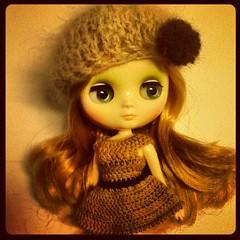 Angora hat and merino dress ^^ #middie #blythe #angora #merino #crochet #handmade
