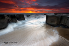 More Of Merewether (Kiall Frost) Tags: red sky sun white seascape beach water clouds landscape flow rocks australia baths nsw colourful merewether kiallfrost