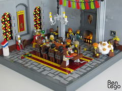 Knight Lowies birthday (benlego) Tags: red people food woman men castle chicken window yellow statue cake stone dark table carpet mouse fire grey hall chair king floor lego flag flor contest pillar flags chandelier shield minifig techniques pennants gryffindor 2013 lowlug benlego