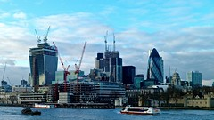 London's ever changing skyline (hethelred) Tags: new leica bridge blue building london tower thames skyline architecture buildings river boats 50mm construction view f14 cranes gherkin summilux m9 walkie talkie walkitalki