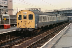 19890826 005a Barking. Believed To Be 302253 Departs To Fenchurch Street (15038) Tags: electric br trains emu railways britishrail barking am2 class302 302253