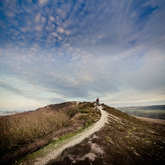 MTB at Headon Warren (s0ulsurfing) Tags: england sky panorama cloud english texture nature weather sport clouds composition canon landscape island march spring scenery skies cyclist natural action britain path patterns wide mountainbike wideangle adventure cycle biking mtb isleofwight british curve isle nube wight meteorology thegreatoutdoors nephology gorse 6d sigma1224 2013 s0ulsurfing