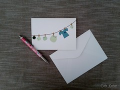 Frogs on the Clothes Line Card (Cute.Kotori) Tags: birthday blue white cute green water set shirt writing paper lily pad line frog clothes card kawaii frogs letter greeting froggy textured