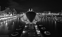 Black is the Night (Fotomondeo) Tags: blackandwhite españa valencia architecture reflections lights luces spain arquitectura nikon reflejos ciudaddelasartesylasciencias sigma1020mm cityofartsandsciences nikond7000 nikond7100