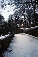 Ridge Path in Winter (Saturated Imagery) Tags: winter snow film 35mm iso200 leeds headingley filmcompact fujicolorc200 woodhouseridge scannedepsonv500 photoshopelements9 prakticaz60