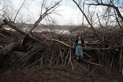 Where Woodland meets Waterfront (Miss Marisa Renee) Tags: wood trees nature water girl female digital canon woodland march sweater pond model colorado pretty waterfront dress boots branches megan clementine wooded naturalarea xhouseofleaves