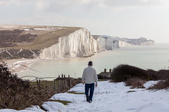 Seven Sisters coastline_03 (a roving eye) Tags: uk england snow man nature outside sussex freedom coast chalk alone escape competition cliffs single coastline solitary sevensisters southdowns paulmansfield sevensisterscountrypark arovingeye