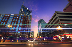 Second and Commerce (Malcolm MacGregor) Tags: street light sunset skyline downtown commerce traffic nashville tennessee trails second avenue hdr thechallengefactory thepinnaclehof sohdr secondandcommerce tphofweek201
